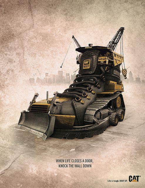 Campanha Caterpillar. Essas botas são verdadeiros tratores!