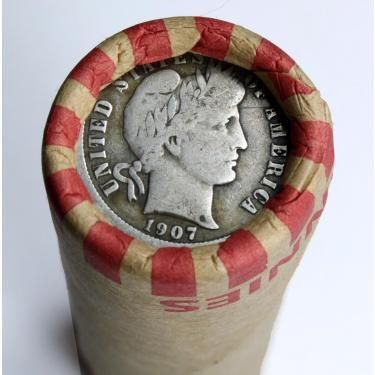 Lincoln Wheat Cent Mystery Roll with 1907 Barber Silver Dime Showing on the End - 50 Coins Total Auction