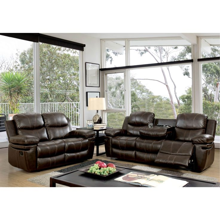 Furniture of America Ellister Transitional 2-Piece Brown Bonded Leather Match Reclining Sofa Set | Overstock.com Shopping - The Best Deals on Living Room Sets