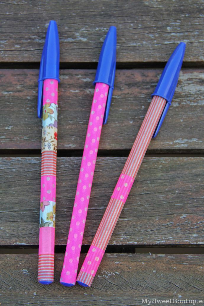 DIY - customiser ses crayons et stylos avec du masking tape, by Mysweetboutique
