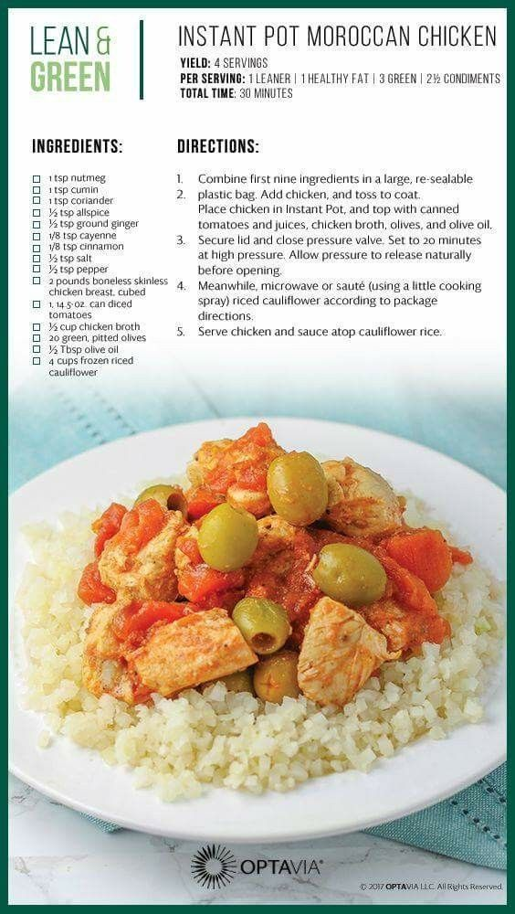 Instant Pot Moroccan Chicken Optavia In 2019 Lean Green Meals Lean Meals Spinach Manicotti