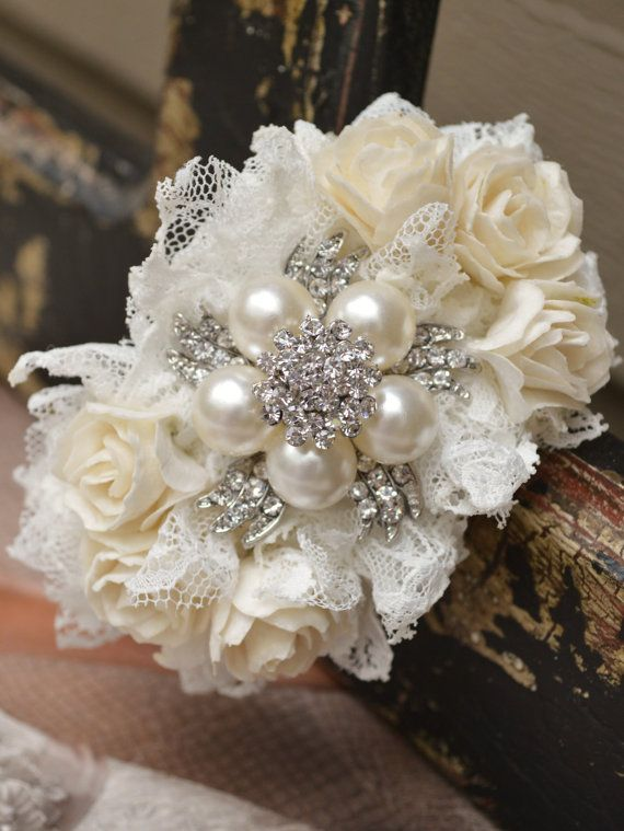 Brooch Wrist Corsage  Ivory and White by ForeverBouquet on Etsy, $36.00