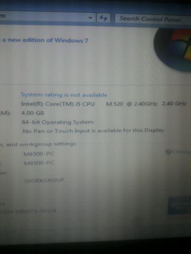 Dell Precision M4500 Core i5 2.40Ghz 4Gb RAM 320gb HD WINDOWS 7