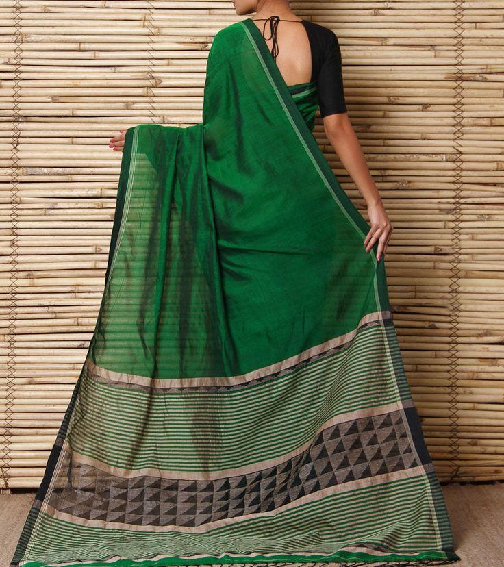 Green & Black Handwoven Silk Jamdani Saree