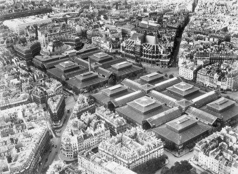 Les halles de Paris, encore appelées le Ventre de Paris, en référence l'oeuvre de Zola, étaient constituées de 12 pavillons de verre et de fonte.