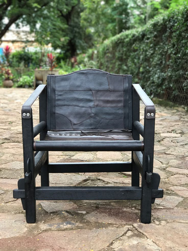 Mörkbrunt patch design läder Safari stol