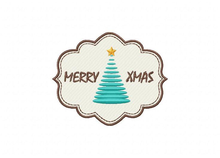 Merry Xmas Tree Label Machine Embroidery Design