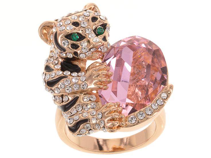 Off Park Collection (Tm) Rose Tone Pink, White And Green Crystal Black Enamel Jaguar Ring