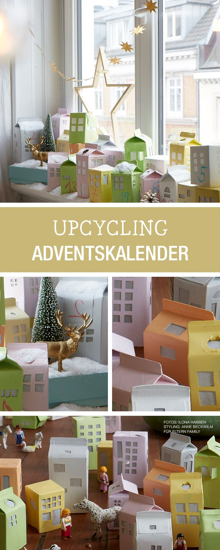 DIY-Anleitung: Adventskalender aus Milchpackungen upcyclen, Basteln mit Kindern / DIY tutorial: upcycling advent calendar made of milk cartons, getting crafty with kids via DaWanda.com