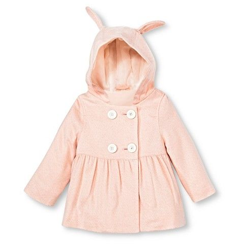 Toddler Girls' Peacoat with Bunny Ears - Pink : Target
