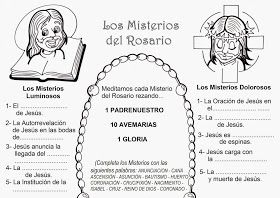 Explicación sencilla para que los niños aprendan a rezar el Rosario:                 Lunes y Sábado:       Jueves:        Martes y Vier...