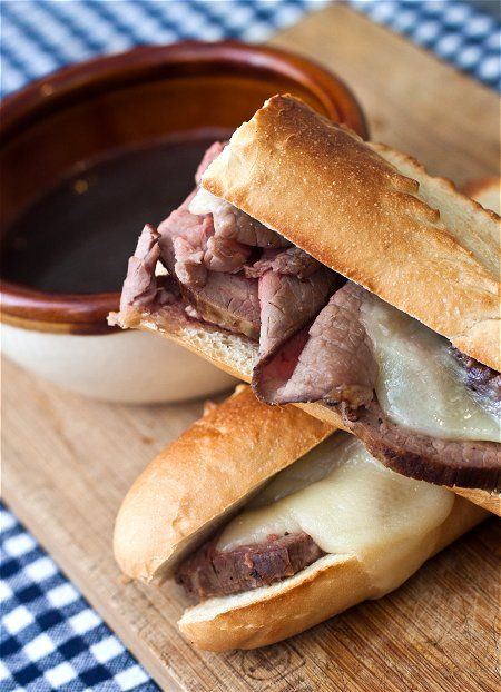 French Dip Sandwiches ~ use deli roast beef, or make the beef from scratch ~ http://tideandthyme.com/slow-roasted-beef/