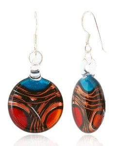 925-Sterling-Silver-Hand-Blown-Venetian-Murano-Glass-Earrings-Red-Blue-Yellow-Gold-Curve-0
