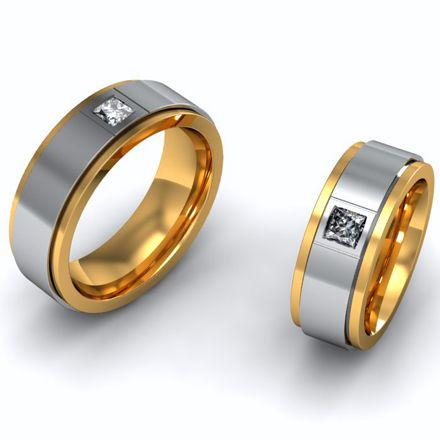 Обручальные кольца комбинированное золото бриллианты Принцесса (Арт. 017)