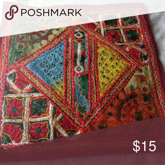 """Bohemian red cushion cover Beautiful and bright cushion cover. 15×15"""". Handmade items, never used,in excellent condition Other"""