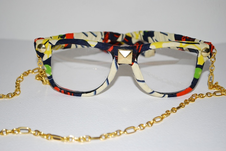 nena soulfly eyewear     Classic, Vintage Frames Wrapped in 100% Nigerian Wax Cloth adorned with Gold Studs and Gold Chain