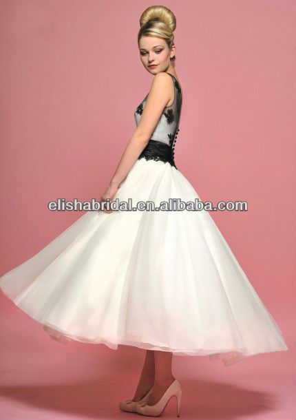 Black and white tea length wedding dress tea length for Black tea length wedding dress