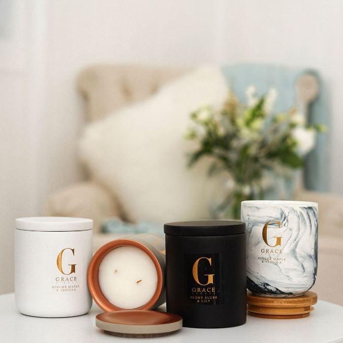 White concrete, grey copper concrete, black sandstone and porcelain marbled vessels