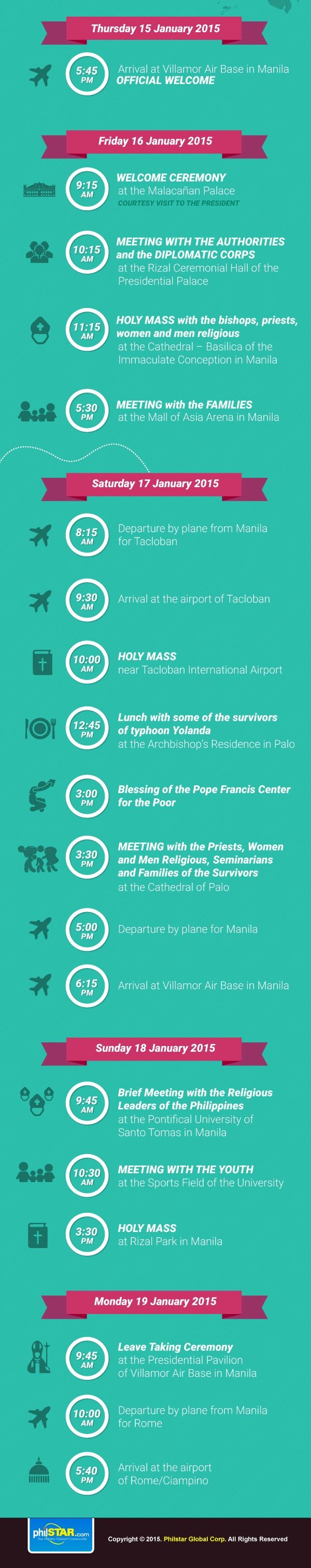 INFOGRAPHIC: Schedule of Pope Francis' Philippines visit | Headlines, News, The Philippine Star | philstar.com