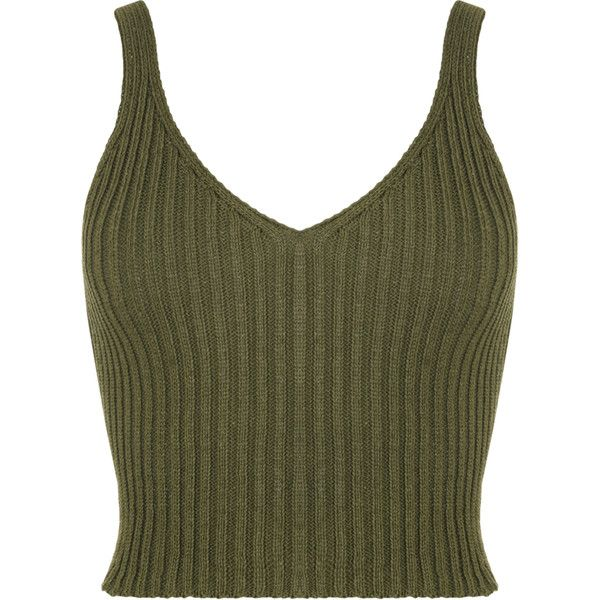 Holo Sleeveless Rib Knit Crop Top ($18) ❤ liked on Polyvore featuring tops, crop tops, green, v neck tank top, green tank, ribbed crop top, crop tank and strappy crop top