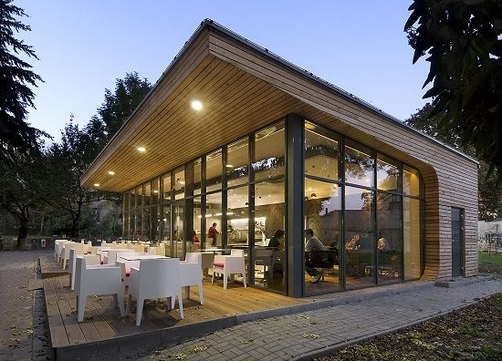 Simple cafe design built in park the greenery environment for House structure design