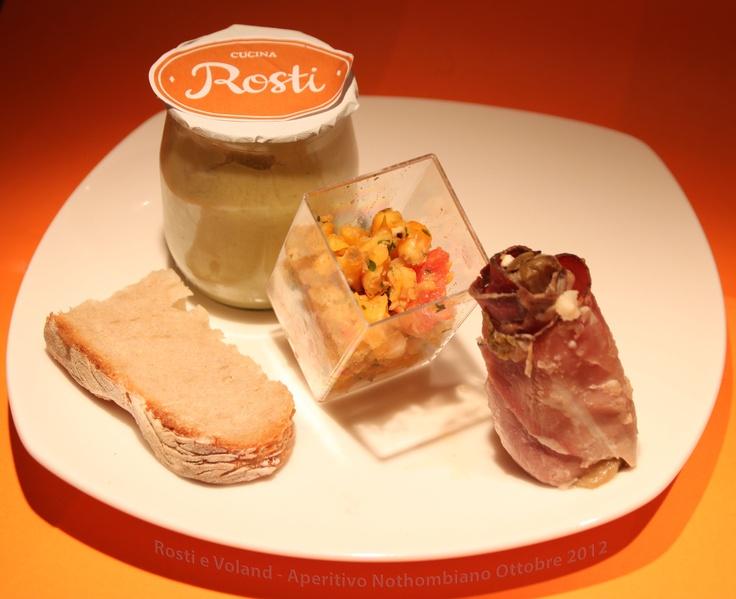 Indivia al gratin, vellutata delicata di polpa di zucchine, taboulè di mais e coriandolo! ecco gli aperitivi preparati dagli chef di Rosti al Pigneto
