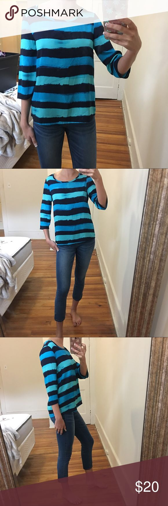I just added this listing on Poshmark: Express turquoise blue striped blouse top. #shopmycloset #poshmark #fashion #shopping #style #forsale #Express #Tops