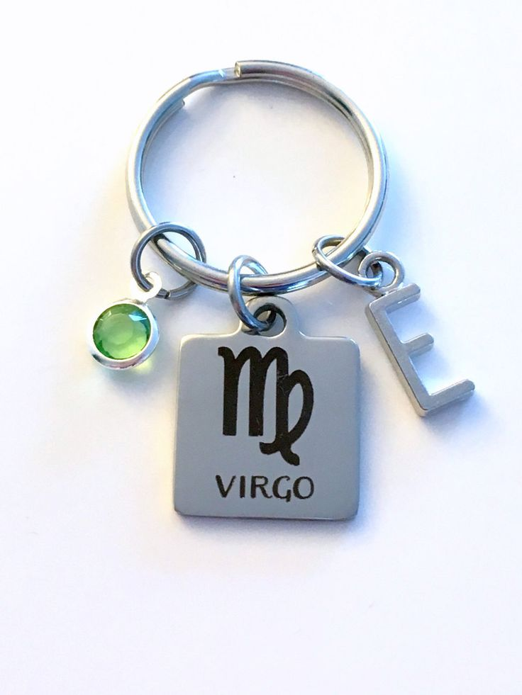 Virgo KeyChain, Zodiac Sign Key Chain, Gift for Birthday Present Keyring Birthstone Initial Personalized Custom Letter September August Key by aJoyfulSurprise on Etsy