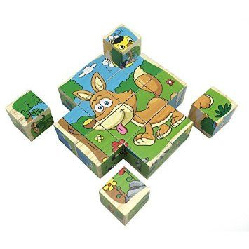 Rolimate Q-W16-p-7 16 Piece 3D Wooden Jigsaw Floor DIY Puzzles, Able to Combined Into 6 Different Colorful Pictures, Good Toys Blocks for Toddlers Baby 1 2 3 4 5 6 Year Old and up Kids