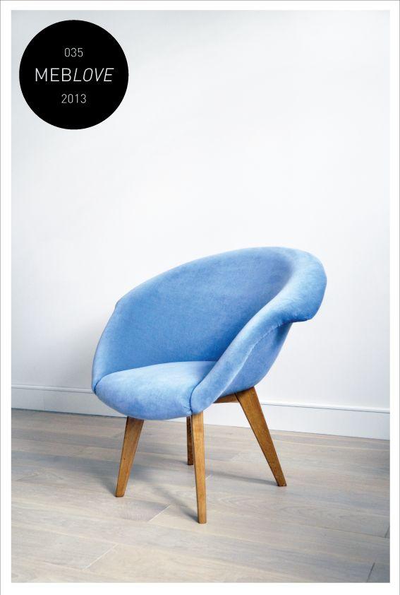 Meblove, vintage armchair, blue, velvet