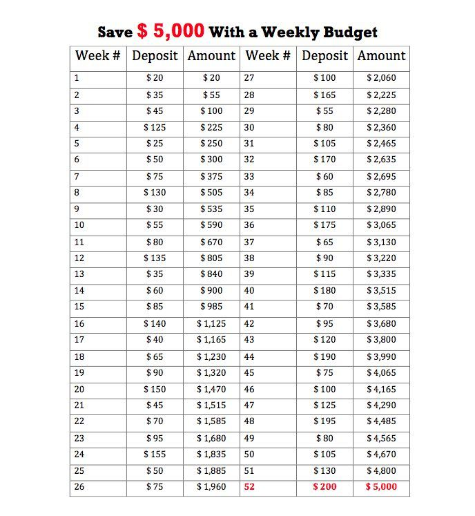 Save $5000 with a Weekly Budget