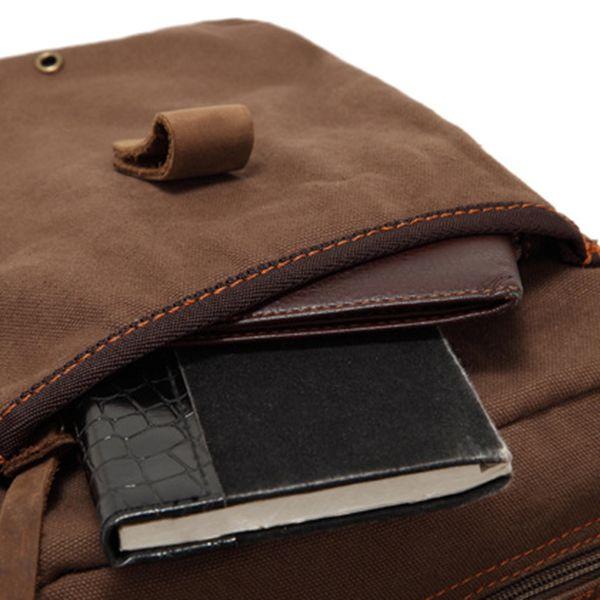AUGUR Vertical Men Canvas Shoulder Cross Body Bag Casual Messenger Bag