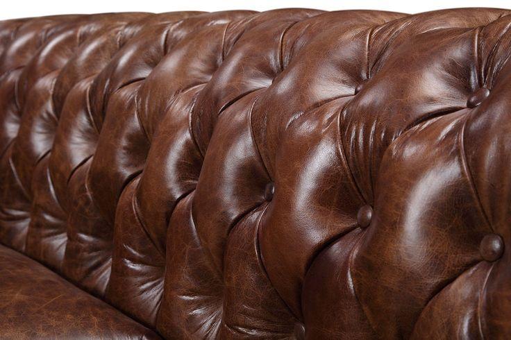 Dossier du canapé Chesterfield Original en cuir vintage