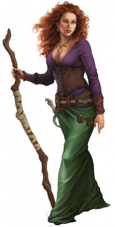 Jolinda Anjasha, Hexe aus dem Bornland, gutaussehend, rotes Haar, tiefer Ausschnitt, Schöne der Nacht