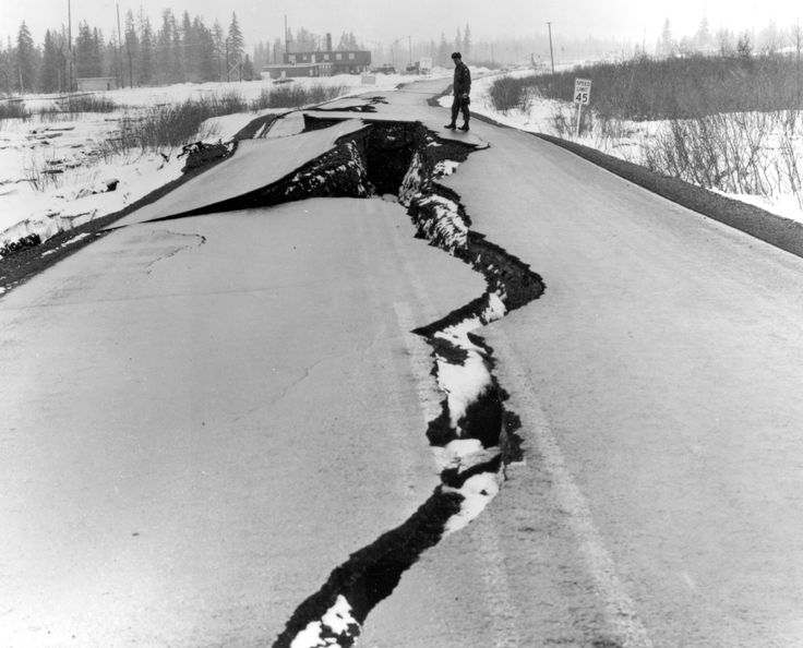 Alaska Earthquake March 27, 1964. Fissures in Seward Highway near The Alaska Railroad station at Portage, at the head of Turnagain Arm. Many bridges were also damaged. At some places, tectonic subsidence and consolidation of alluvial materials dropped both highway and railroad below high-tide levels. Photo by U.S. Army. Figure 27, U.S. Geological Survey Professional paper 541. #earthquake #disruption #cracking