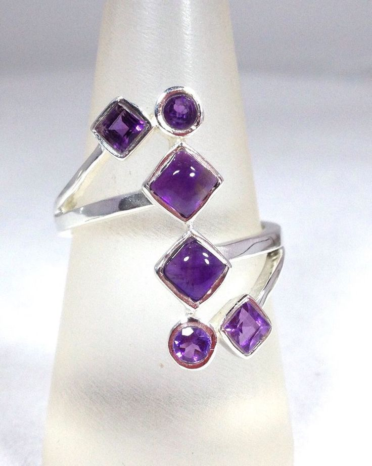 Solid Sterling Silver faceted and cabochon real amethyst multi stone ring. uK size R. Actual one shown. Supplied in an attractive gift box. Weight approx 4.7g. | eBay!