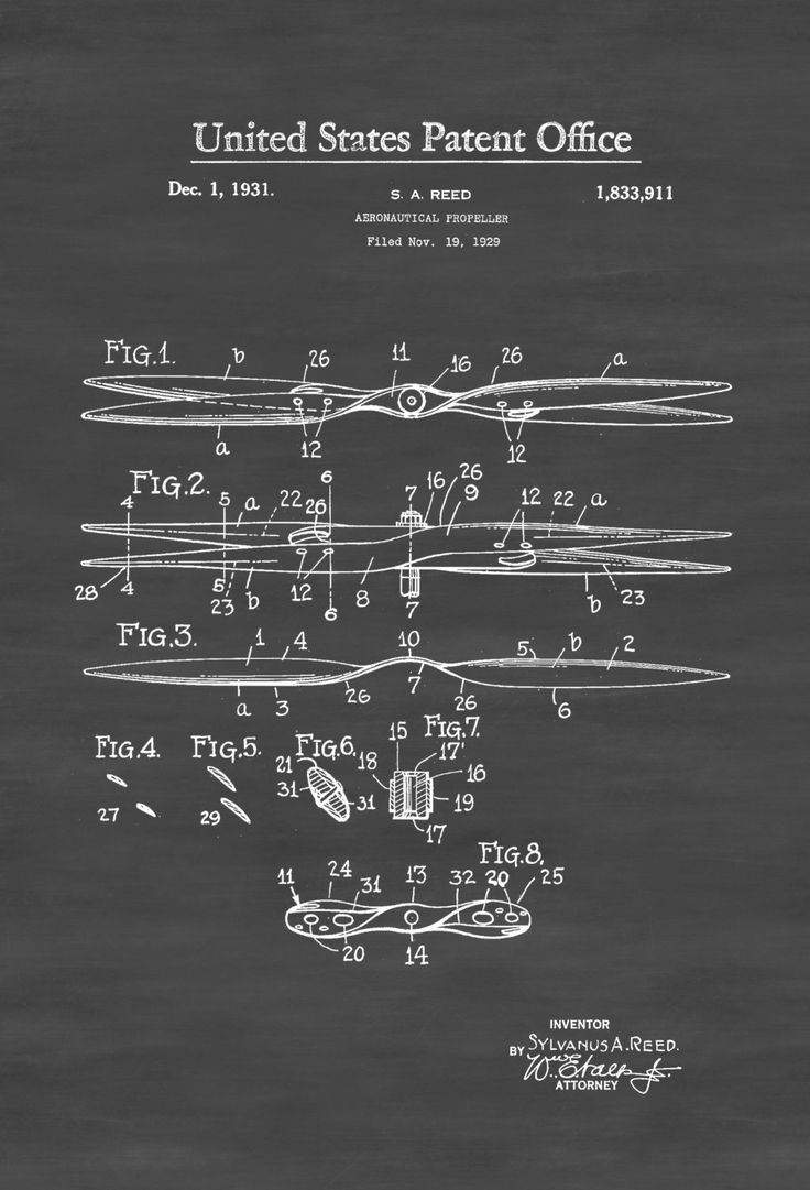 A patent print poster of an Aircraft Propeller invented by S. A. Reed. The patent was issued by the United States Patent Office on November 19, 1929.    Patent prints allow you to have a piece of history in your Home, Office, Man Cave, Geek Den or anywhere you wish to add an interesting touch.  COLORS ...