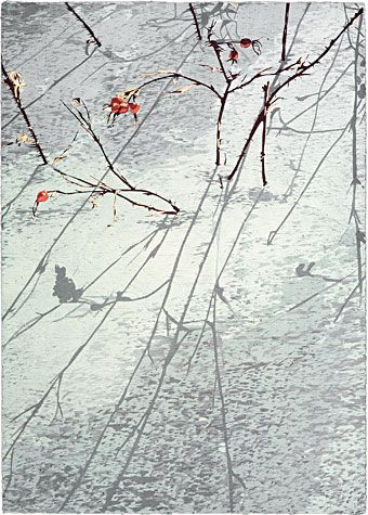 Jean Gumpper. Midwinter Walk, 2008. Reduction woodcut and pochoir.