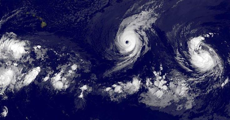 Imagem de satélite mostra o furacão Iselle no leste do Oceano Pacífico, perto das Ilhas Havaianas. Iselle subiu para a categoria 4 dos níveis da escala Saffir-Simpson. De acordo com os meteorologistas, o furacão chegará ao Havaí como uma tempestade tropical.  Fotografia: NASA/AFP.