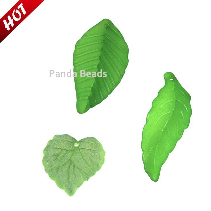 3 стили зеленый листья 50 pcs/lot акрил пластик ювелирные изделия Jewellry заморожено без тары кулон лёгкий бусины листья бусины -