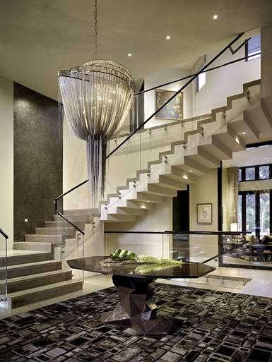Contemporary Home Interior Staircase/Chandelier