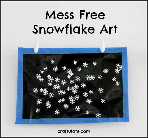 Mess Free Snowflake Art from Craftulate - no glue or paint needed! (preschool or kindergarten)