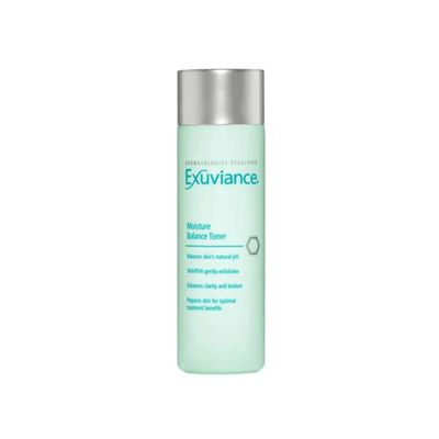 EXUVIANCE Moisture Balance Toner, 6.7 oz  is a soothing, rejuvenating, pH balanced toner designed to delicately prepare the skin for moisturization without removing its precious lipids. Exuviance Moisture Balance Toner gets and retains moisture in the skin.  Exuviance Moisture Balance Toner is great for oily and acne prone skin and contains some alcohol. Best if avoided by sensitive skin types to avoid irritation. This toner has a lovely apple-citrus scent