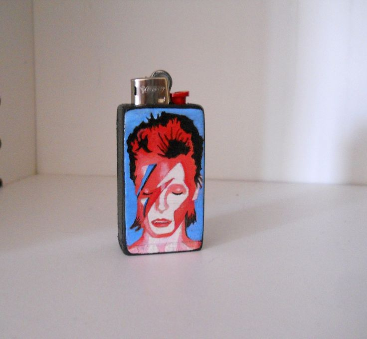 David Bowie porta accendino in legno dipinto a mano