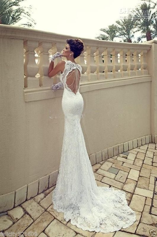 Sexy Mermaid lace Backless wedding dress Bridal Gown stock Size 6-16
