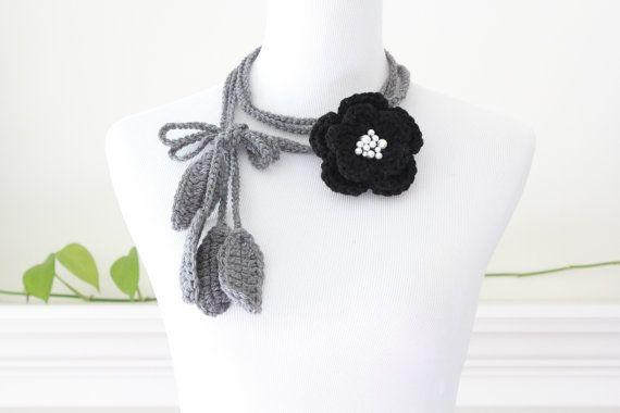 Crochet Gray Flower(removable brooch) Necklace, scarf, scarflette