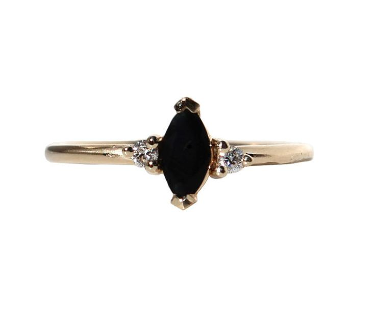 14K ONYX MARQUISE RING WITH DIAMONDS