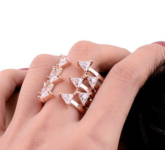 Rose gold Triangle Square Cut CZ cocktail ring well, party high quality women's fashion rings Anillos Mujer delicate jewelry.