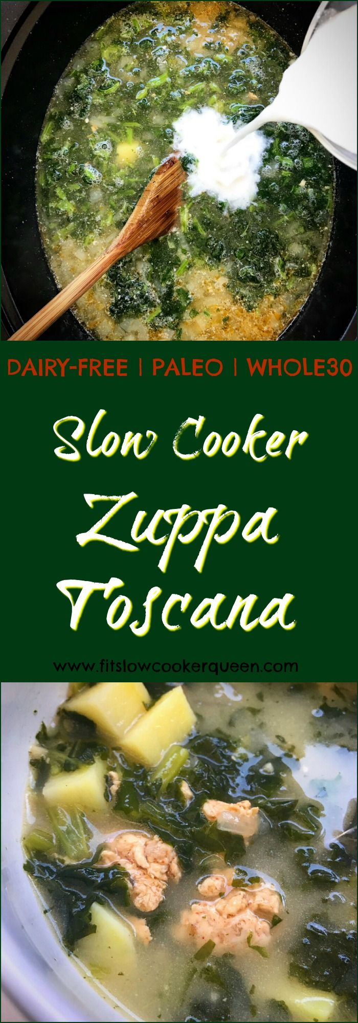slow cooker crockpot paleo whole30 - Zuppa toscana is a simple soup using sausage, kale, and potatoes. This cleaned up version is paleo, whole30, dairy-free, and cooks in your slow cooker in just a couple of hours.
