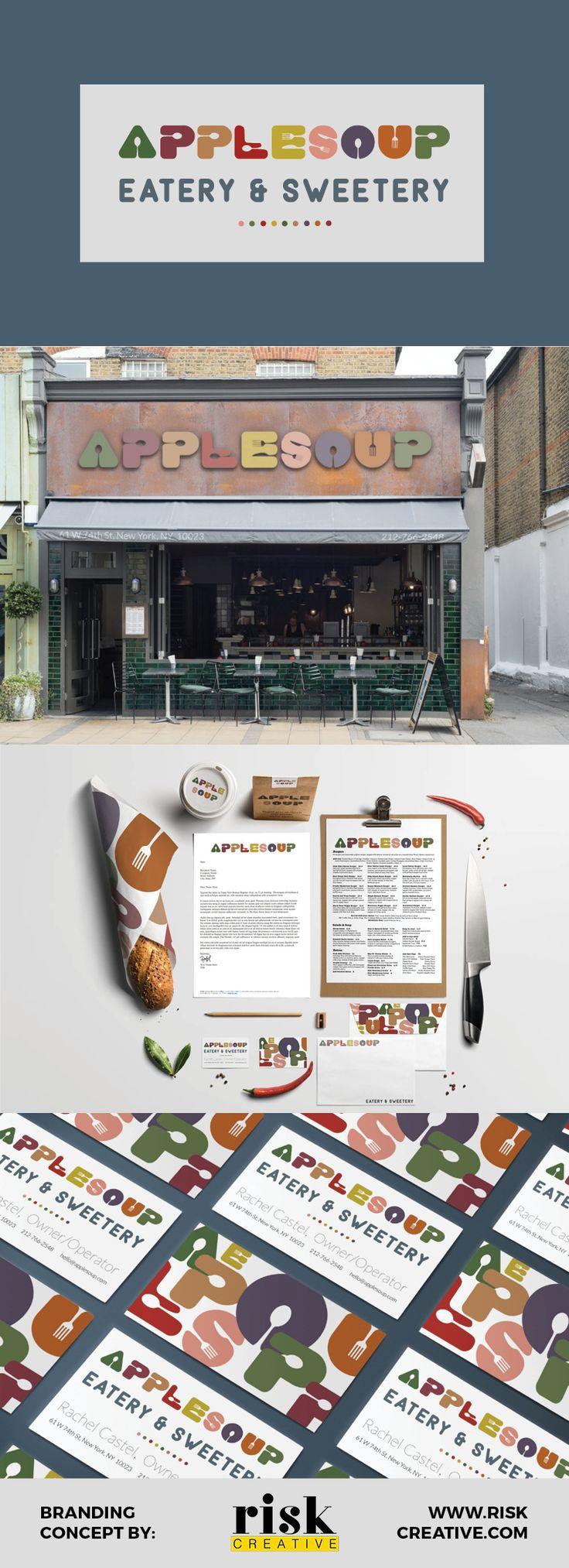 Applesoup branding concept by Risk Creative www.riskcreative.com  #branding #brandingidentity #brandingconcept #restaurantbranding